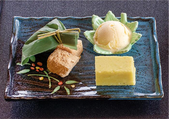 和スイーツプレート450円(税別)わらび餅、芋羊羹、笹団子、アイスクリームを1プレートに。食後のデザートにどうぞ。